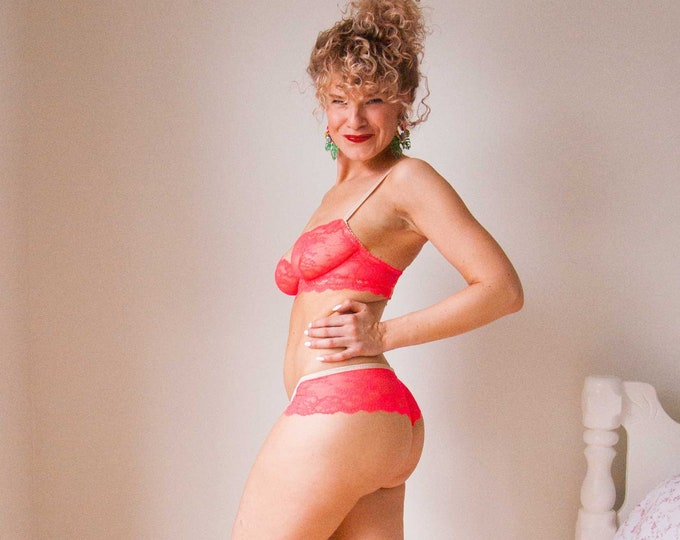 READY TO SHIP - Neon Pink Classic Brazilian Underwear