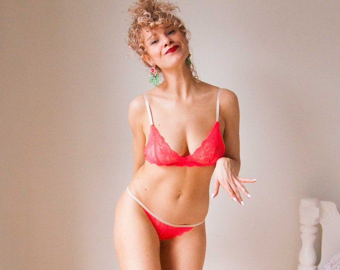 READY TO SHIP - Neon Pink Triangle Bralette