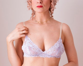 Lavender lace triangle bra