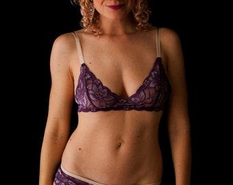 Grape lace triangle bra