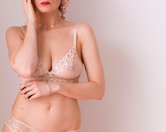 Beige lace triangle bra