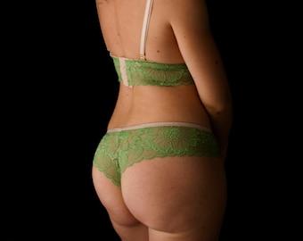 Leaf green lace panties