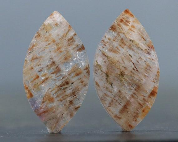 Paire de Cabochon de Cacoxenite - recto-verso, plat bijoux conception Pierre (B1913)