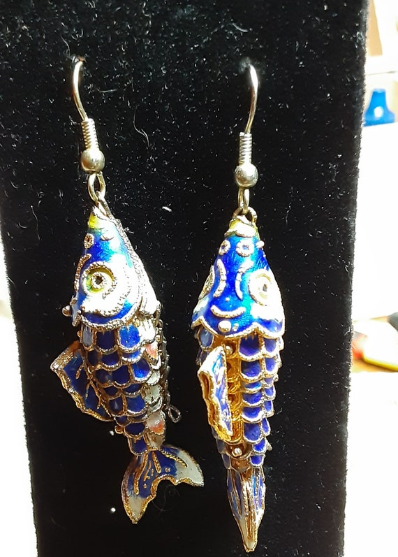 Vintage Chinese Articulated Enameled Fish Earrings