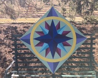 Mariner's Compass Barn Quilt,  24 x 24