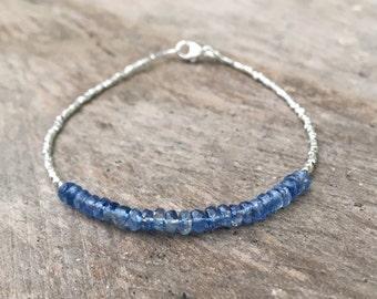 Kyanite and Karen Hill Tribe Silver Bracelet, Beaded Gemstone Bracelet