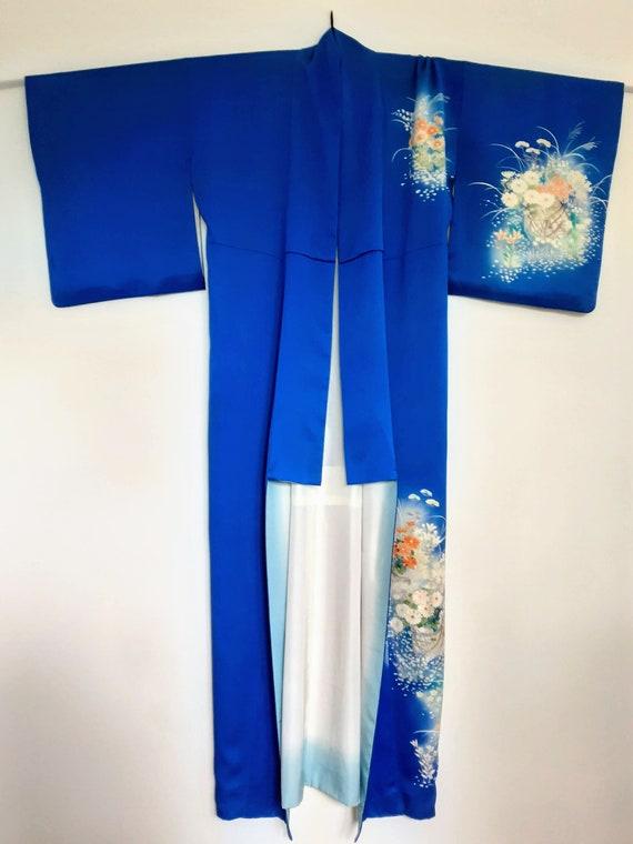 Blue Kimono Tsukesage crepe/silk