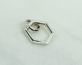 Sterling Silver Small Hexagon Honeycomb Charm, Silver hexagon charm, 925 hexagon, Hexigon charm, Honeycomb, Sterling Silver Geometric Charm
