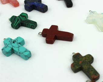 Stone cross pendant etsy stone cross charm assorted color natural stone jewelry finding cross jewelry charm christian jewelry findings cross pendant nc 168 aloadofball Image collections