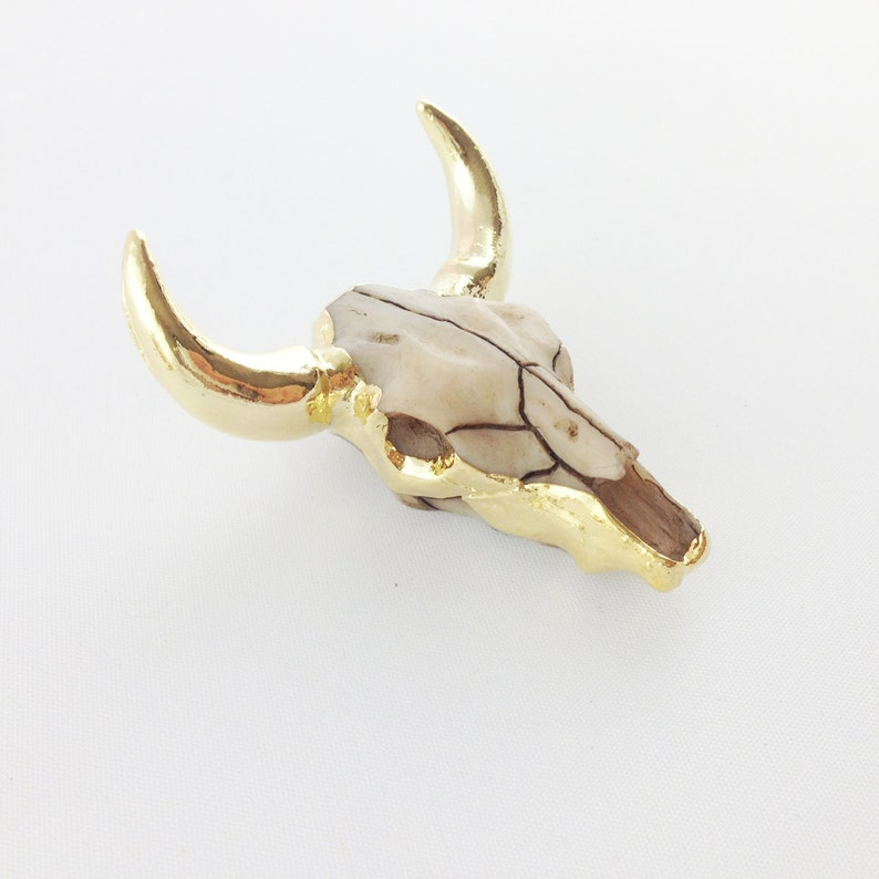 Longhorn Charm 24k Gold Plated Cattle w Resin Face Longhorn Pendant Texas Charm   Gold {NC-013} Long Horn Pendant for Jewelry Making