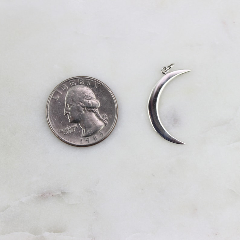 Crescent Moon Charm  Sterling Silver  LC-M11303S Sterling Silver Crescent Moon Charm Silver Moon Charm Sterling Silver Moon 925