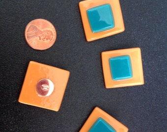 Fused glass buttons, set of 4