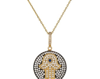 Sterling silver 18k gold plated hamsa, hand of fatima necklace