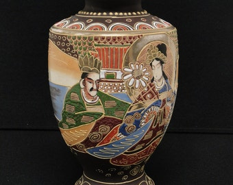 Antique Japanese Satsuma Hand Painted Vase with Royal couple