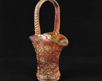 Vintage Imperial Marigold Carnival Glass DAISY Pattern Basket Vase