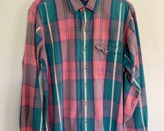 Gant Flannel Shirt Small Plaid Checkered Multicolour Hipster Minimalist 1990s Grunge Style Oxfords Buttondown Size S
