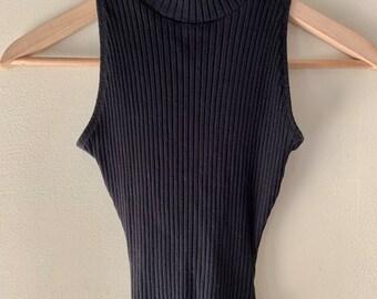 4869c84ef329 Vintage 90s Black Ribbed Mock Neck Body Suit by The Limited