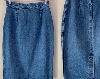 af8e3896c Vintage 90s Zena D. Fitted Denim High Rise Midi Pencil Skirt with Snap Up  Slit