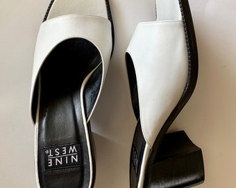 f848f8c00a Vintage 90s Nine West White Leather Block Heel Open Toe Mule Slides || Size  8 || Made in Brazil