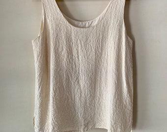 48018175ff88 Vintage 90s Express Minimal Bone White Textured Pure Silk Tank Top Blouse