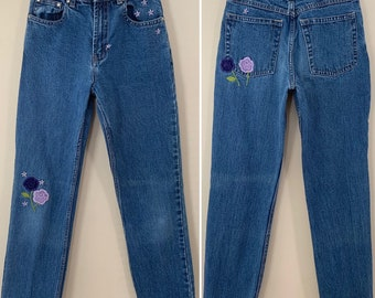 173e0baed6a Vintage 90s Gap Brand Floral Embroidered High Rise Denim Jeans