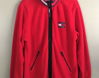 Vintage 90s Tommy Hilfiger Red Fleece Zip Up Flag Logo Collar / Funnel Neck Jacket 77yrvexcW