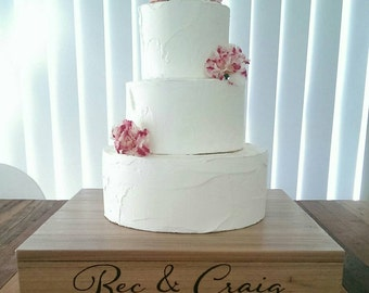 Personalised wooden cake stand - wedding cake - rustic timber stand - LAST ONE