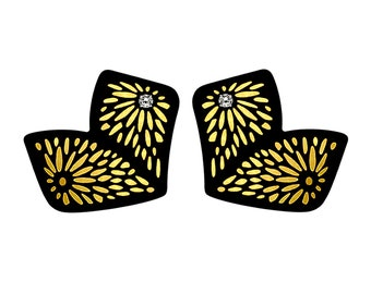 Chiyogami 2 Leaf Gold Momi Paper Earrings: Abstract Butterfly Statement Earrings, Boho Chic Lightweight Contemporary Earrings