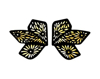 Chiyogami 2 Leaf Gold/White Marbled Momi Paper Earrings: Abstract Butterfly Statement Earrings, Boho Chic Lightweight Contemporary Earrings