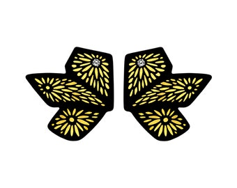 Chiyogami 3 Leaf Gold Momi Paper Earrings: Abstract Butterfly Statement Earrings, Boho Chic Lightweight Contemporary Earrings