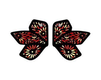 Chiyogami 3 Leaf Red/Gold Marbled Momi Paper Earrings: Abstract Butterfly Statement Earrings, Boho Chic Lightweight Contemporary Earrings