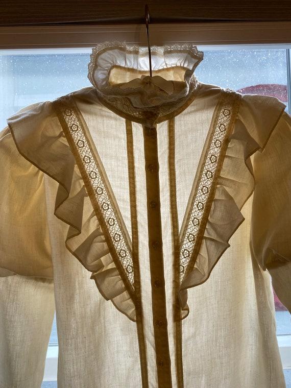 Vintage 70s Gunne Sax puff sleeve blouse  med