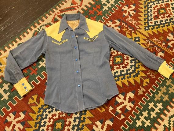 1940s h bar c ranchwear gabardine western shirt si