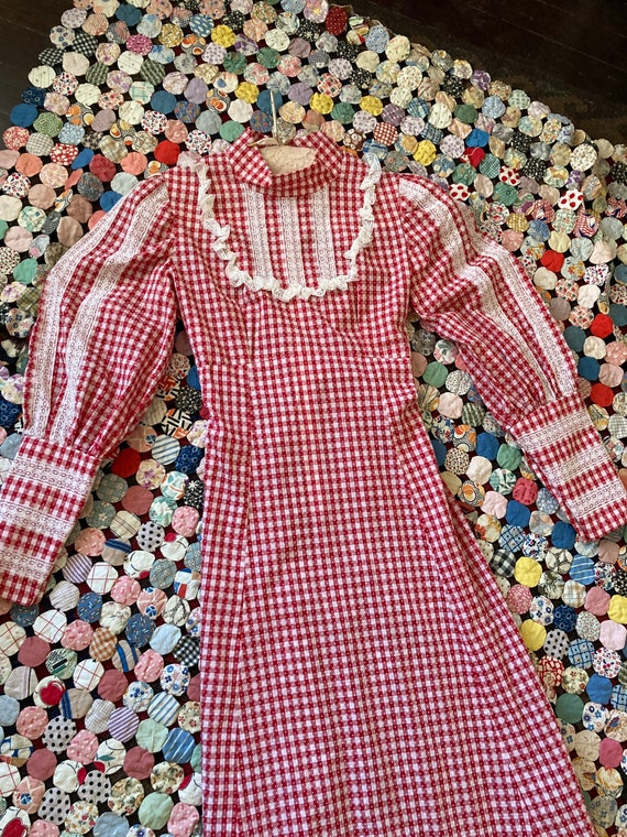 70s red and white gingham gunne sax style dress me