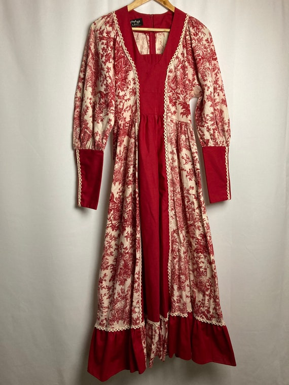 70s black label Gunne Sax red toile print boho pra