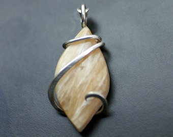 Honey Calcite Forged Sterling Silver Pendant