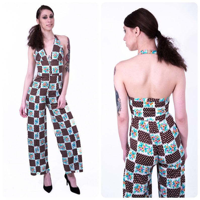 770da7b416 Vintage 60s 70s PATCHWORK checkerboard floral polka dot print