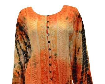 Vintage renaissance inspired tie-dye embroidered velvet button down shirt orange