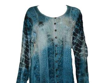 Vintage renaissance inspired tie-dye embroidered velvet button down shirt Blue