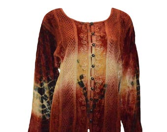 Vintage renaissance inspired tie-dye embroidered velvet button down shirt Red
