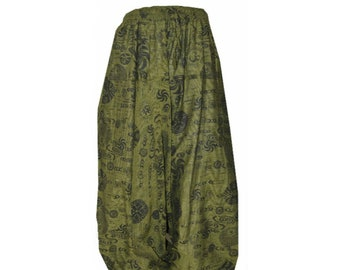 3fa4159483fc Plus size boho hippie gypsy om aum festival baggy low harem pants size up  to 20 Green