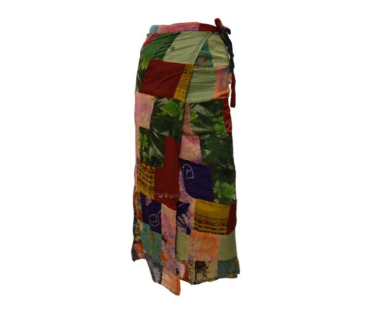 Boho hippie vintage style up-cycled reversible abstract patchwork maxi wrap skirt free size up to size 18 p260