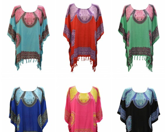 Womens Ladies Plus Size Curve Boho Mandala Print Loungewear Asymmetrical Tassel Cover- Up Hippie Poncho Kaftan  Freesize Up To 44