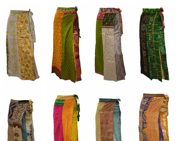 Boho Upcycled Wrap Around Skirt Funky Patchwork Hippie Maxi Sarong Free Size up to 18 P225- P232