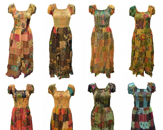 100% Cotton Gypsy Dress Boho Vintage Style Patchwork Elasticated Short Sleeve Maxi Free size up to 16 P1-P8
