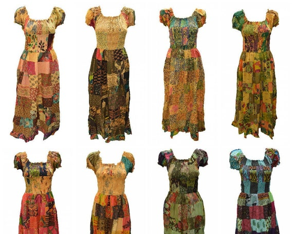 100% Cotton Gypsy Dress Boho Vintage Style Patchwork Elasticated Short Sleeve Maxi Free size up to 16 P1-P8