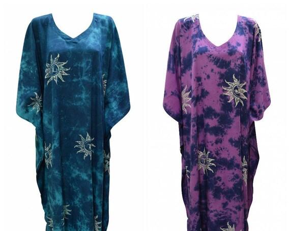 Womens Plus Size Kaftan Handmade Sun Print Maxi Boho Batwing Loungewear Free Size Up To 28