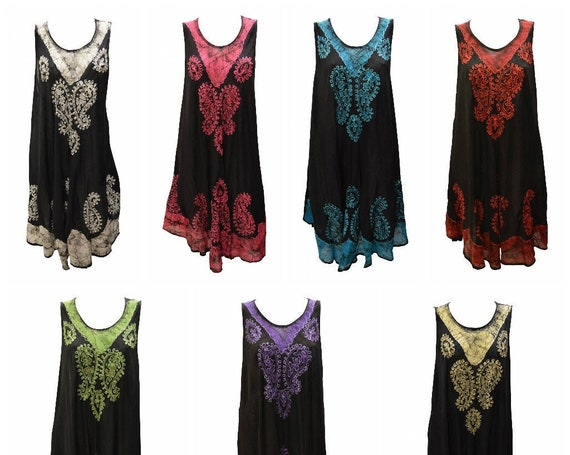 Womens Plus Size Swing Dress Embroidered Marble Sleeveless Asymmetrical Hem Sway Free Size Up to 28