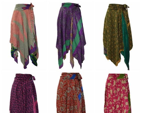 Upcycled Wrap- around Skirt Reversible Vintage Patchwork handkerchief Hem Boho Midi Free Size up to size 18 P186- P191