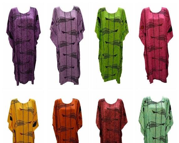 Womens Plus Size Kaftan Handmade Fish Print Maxi Boho Batwing Loungewear Free Size Up To 28